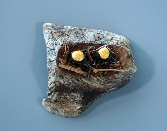Huevo a la ceniza, huancaina de trucha ahumada - mychef
