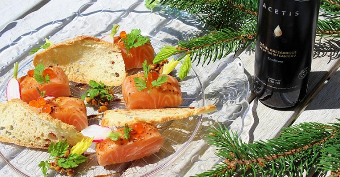 Trucha salvaje de los Pirineos marinada con crema de aveto condimento piñones y hierbas - mychef